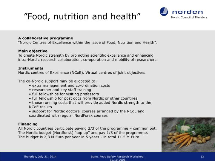 """""""Food, nutrition and health"""""""
