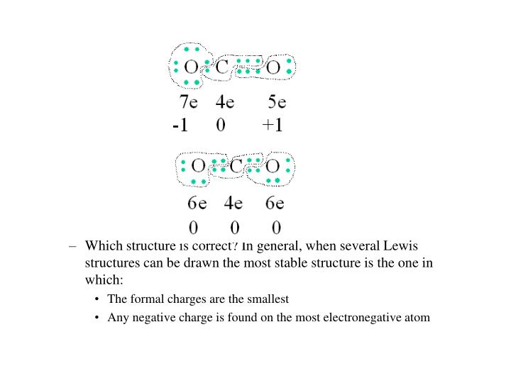 Which structure is correct? In general, when several Lewis structures can be drawn the most stable structure is the one in which: