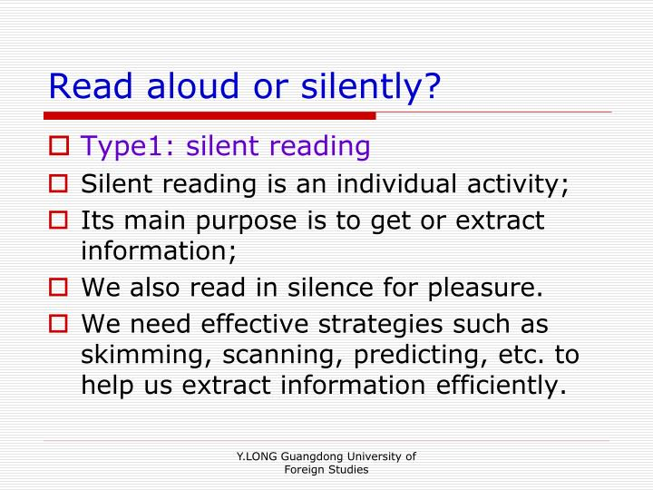 Read aloud or silently?