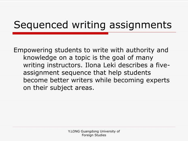 Sequenced writing assignments