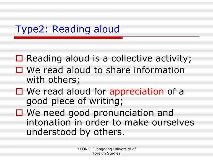 Type2: Reading aloud