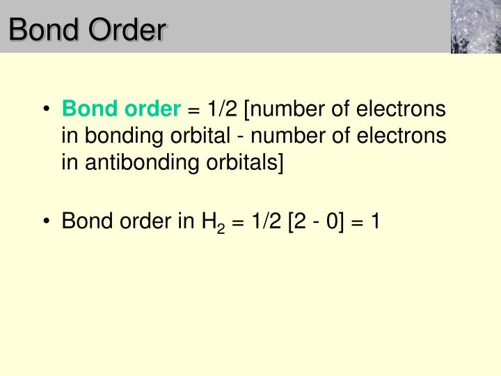 Bond Order