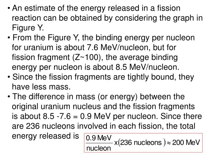 An estimate of the energy released in a fission