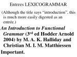 entrees lexicogrammar