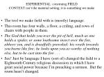 experiential construing field context isn t the material setting it is something we make