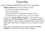 generality
