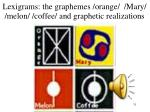 lexigrams the graphemes orange mary melon coffee and graphetic realizations
