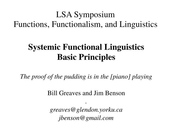 lsa symposium functions functionalism and linguistics n.