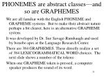 phonemes are abstract classes and so are graphemes