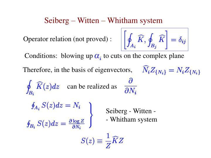 Seiberg – Witten – Whitham system