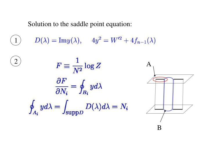 Solution to the saddle point equation: