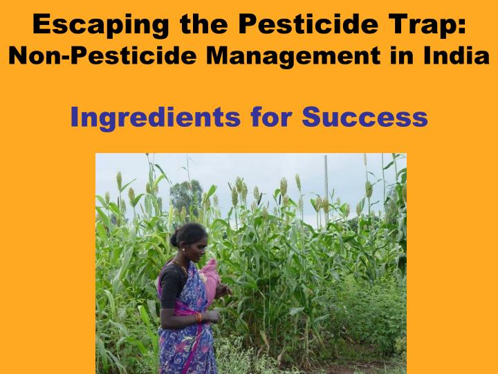 Escaping the pesticide trap non pesticide management in india ingredients for success