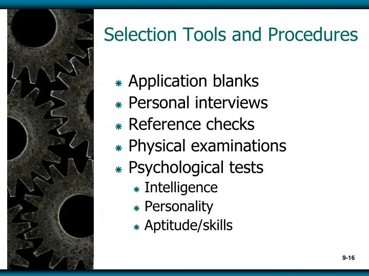 Selection Tools and Procedures