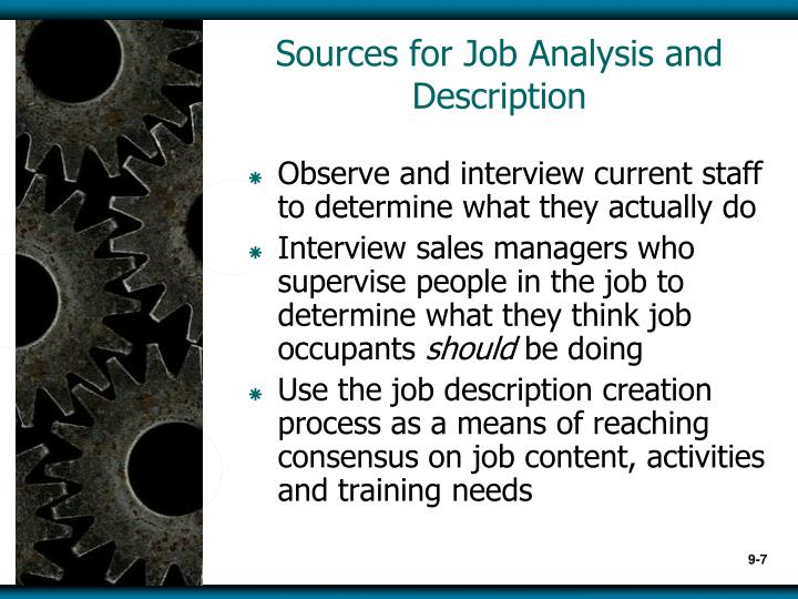 Sources for Job Analysis and Description