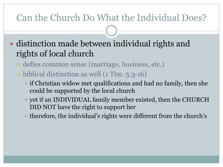 Can the Church Do What the Individual Does?