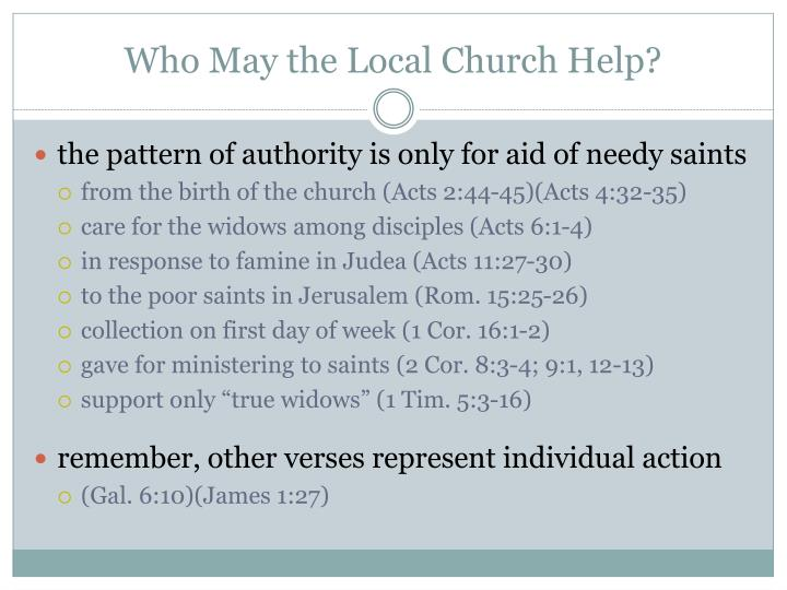 Who May the Local Church Help?