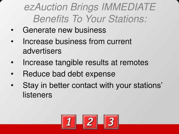 Ezauction brings immediate benefits to your stations