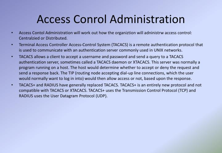Access Conrol Administration
