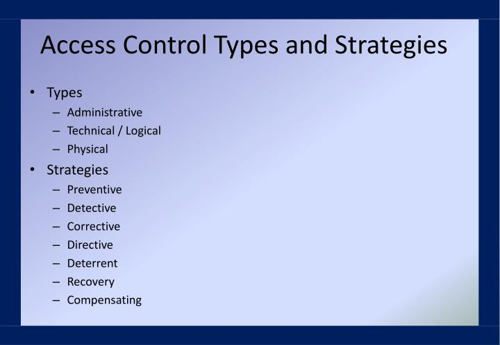 Access Control Types and Strategies