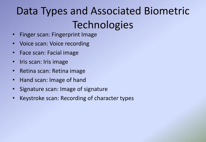 Data Types and Associated Biometric Technologies