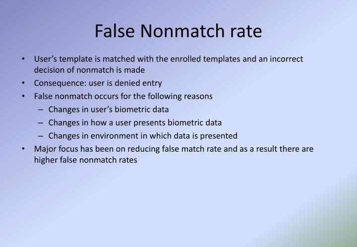False Nonmatch rate