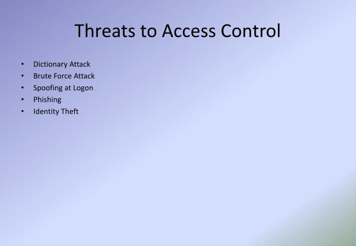 Threats to Access Control