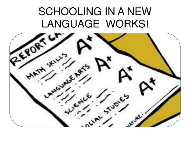 SCHOOLING IN A NEW LANGUAGE  WORKS