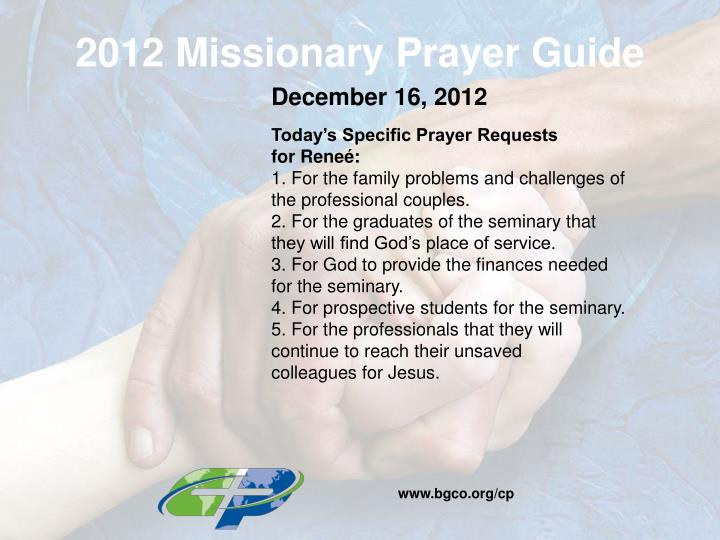 2012 Missionary Prayer Guide