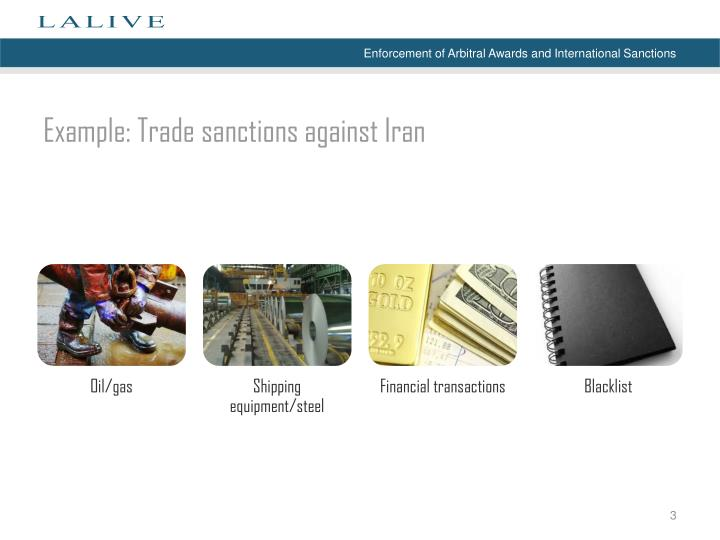 Example trade sanctions against iran