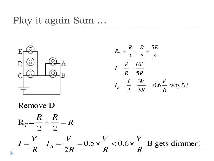 Play it again Sam …
