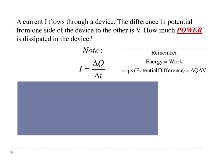 A current I flows through a device. The difference in potential