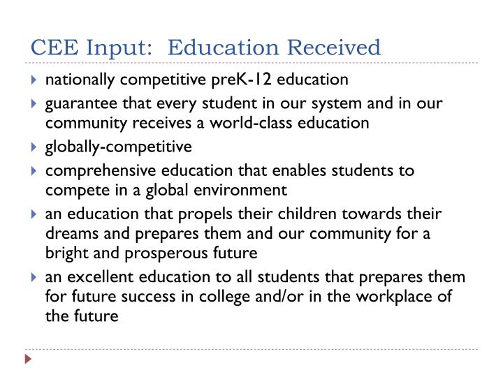 CEE Input:  Education Received