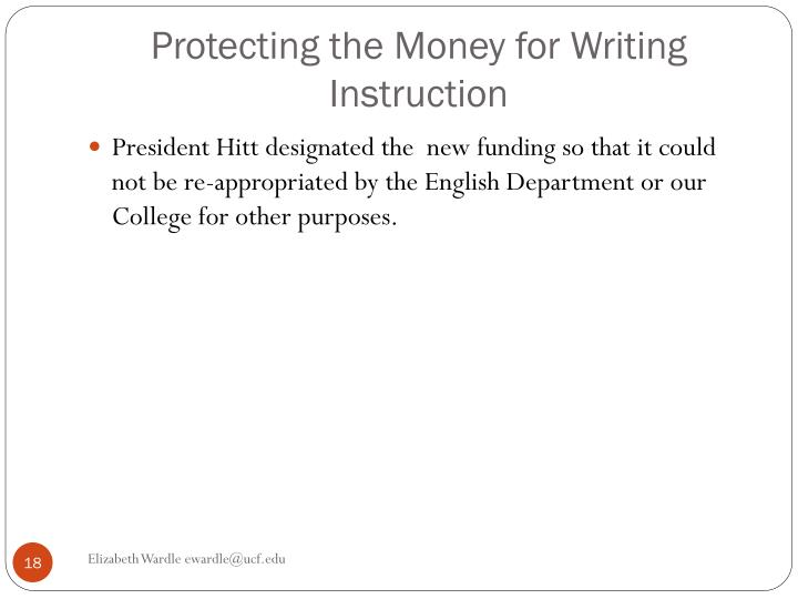 Protecting the Money for Writing Instruction