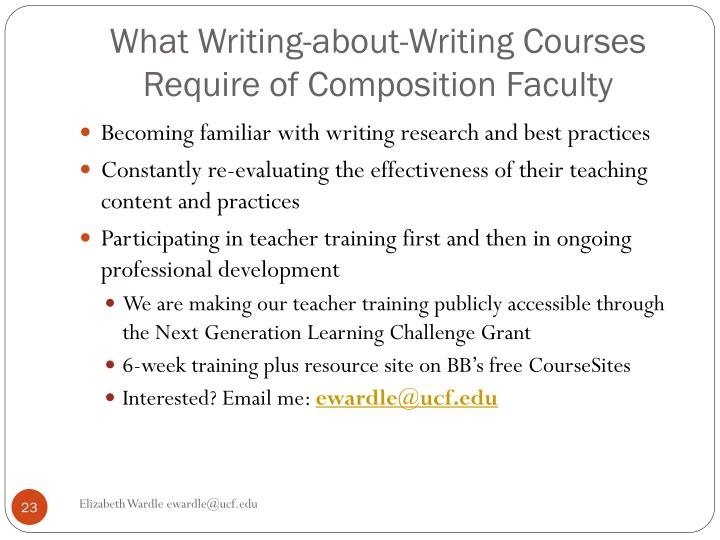 What Writing-about-Writing Courses Require of Composition Faculty