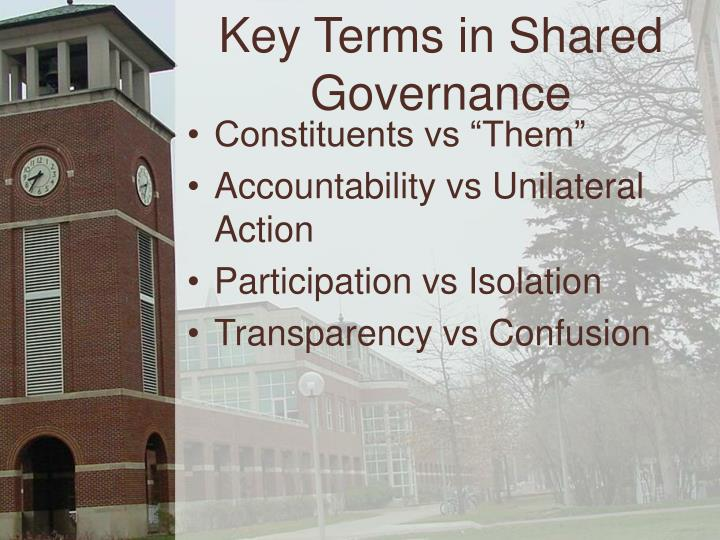 Key Terms in Shared Governance