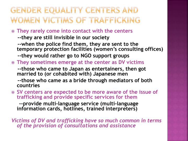 Gender equality centers and women victims of trafficking