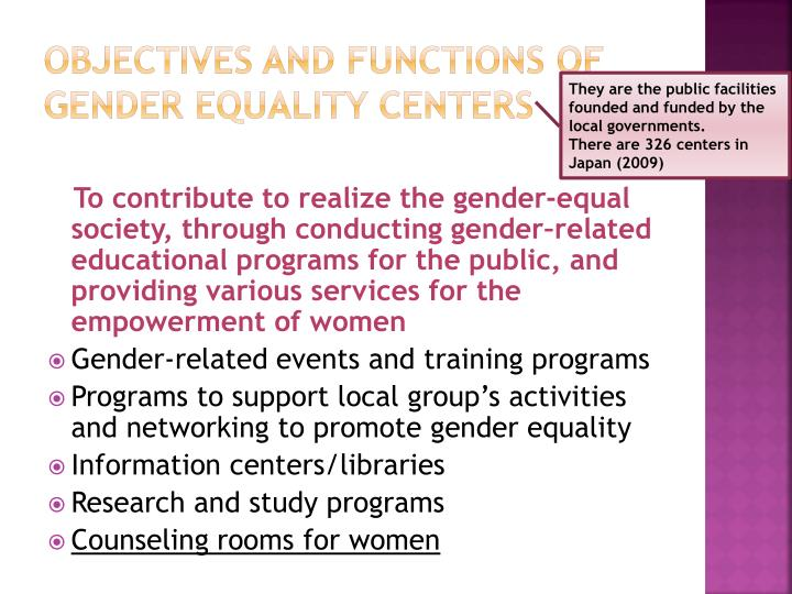 Objectives and functions of gender equality centers
