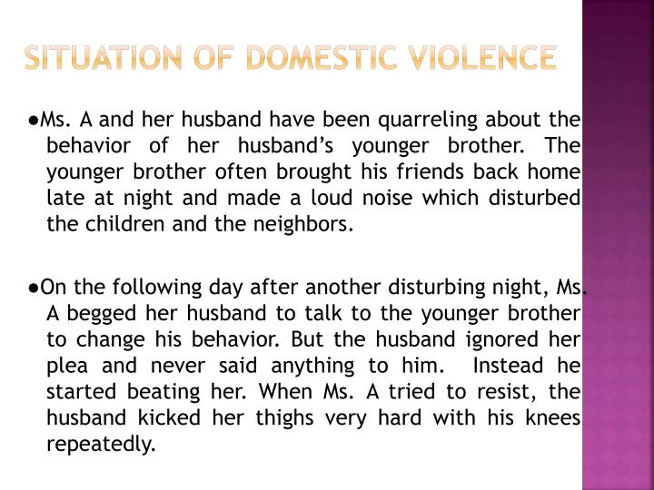 Situation of domestic violence