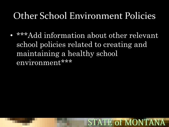 Other School Environment Policies