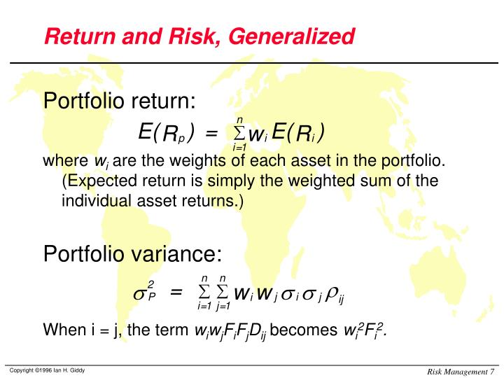 Return and Risk, Generalized