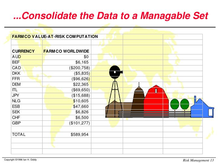 ...Consolidate the Data to a Managable Set