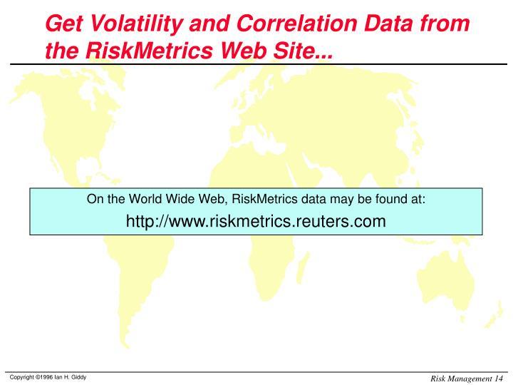 Get Volatility and Correlation Data from the RiskMetrics Web Site...