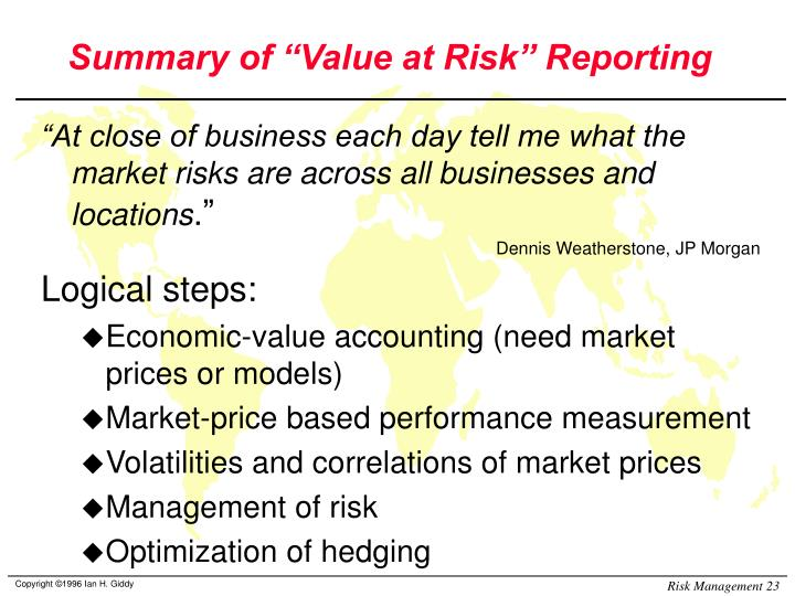 """Summary of """"Value at Risk"""" Reporting"""