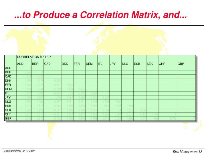 ...to Produce a Correlation Matrix, and...