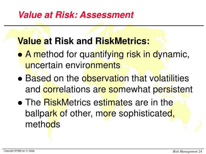 Value at Risk: Assessment