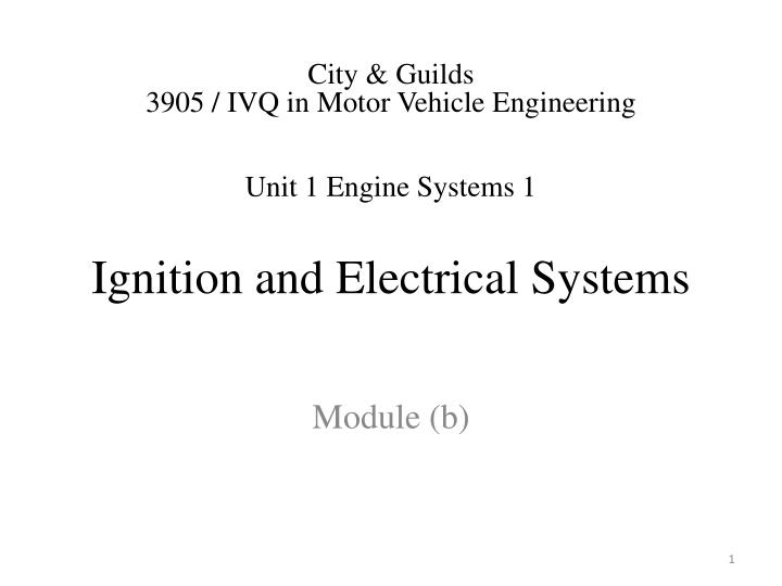 ignition and electrical systems n.