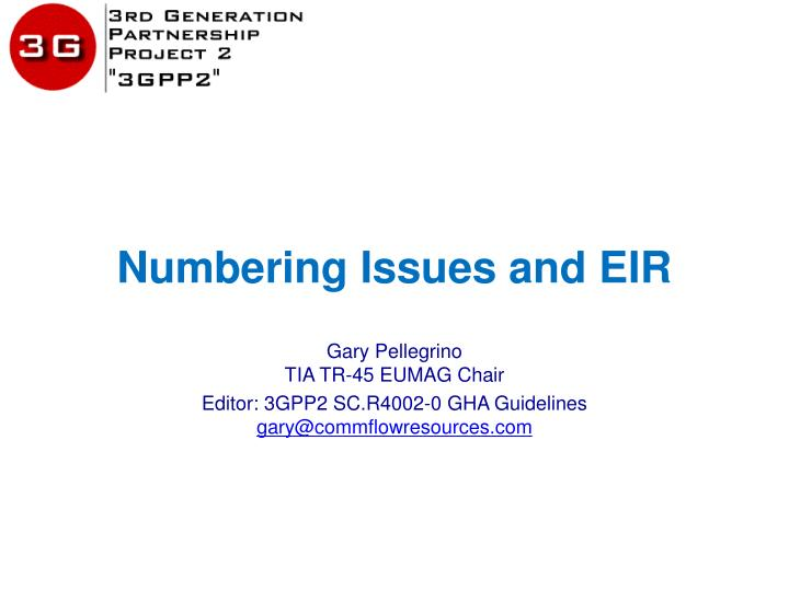 numbering issues and eir n.
