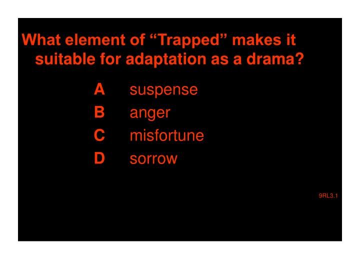"""What element of """"Trapped"""" makes it suitable for adaptation as a drama?"""