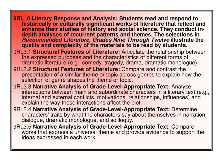 9RL .0 Literary Response and Analysis: Students read and respond to historically or culturally signi...