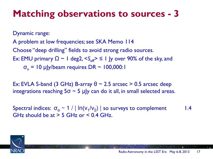 Matching observations to sources - 3